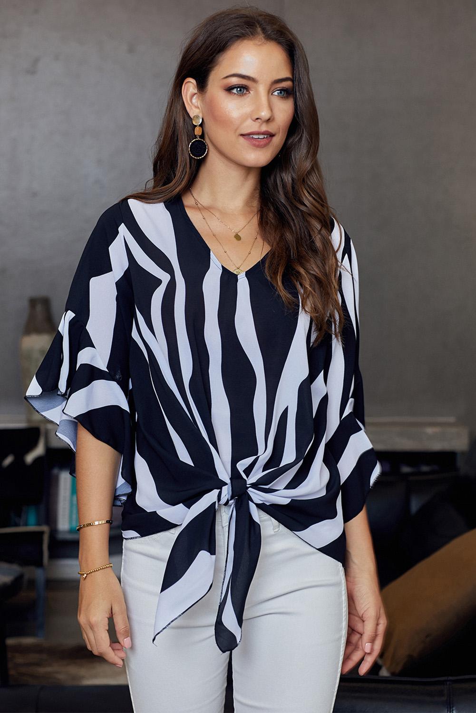 黑色时尚垂直条纹V领3/4袖衬衫 LC252269