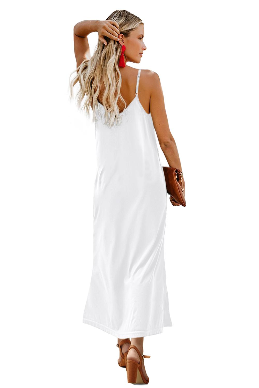 白色简约排扣V领吊带宽松舒适连衣长裙 LC611713