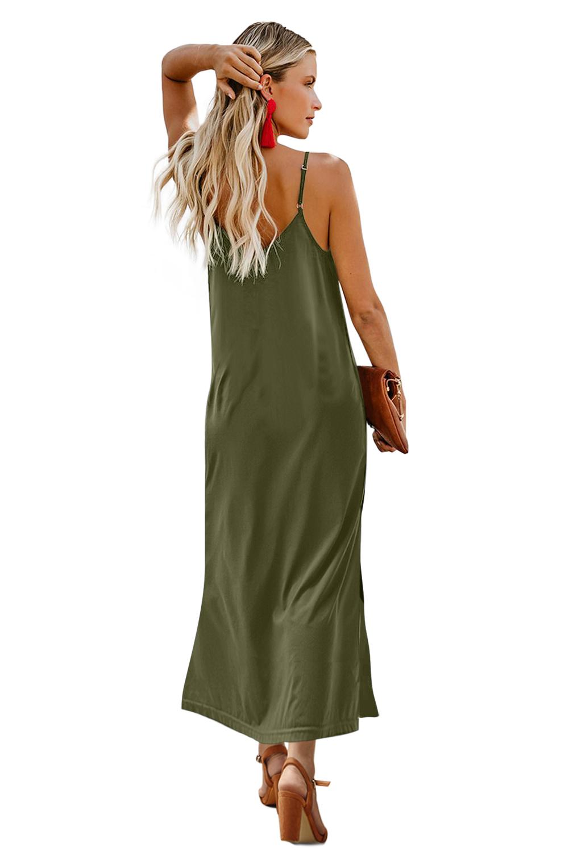 绿色简约排扣V领吊带宽松舒适连衣长裙 LC611713