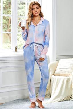 蓝色扎染长袖纽扣衬衫宽松口袋抽绳长裤居家睡衣套装