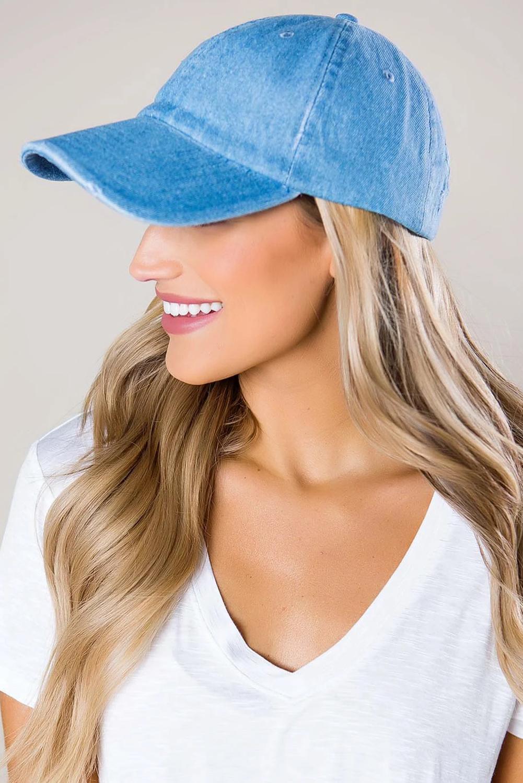 复古牛仔蓝可调节棒球帽 LC02085