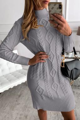 灰色高领长袖优雅纹理毛衣裙