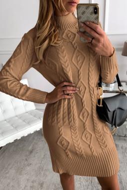 棕色高领长袖优雅纹理毛衣裙