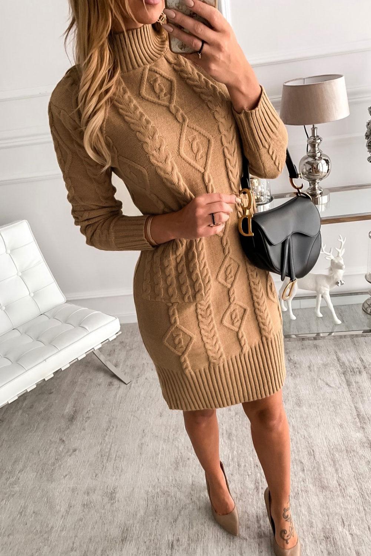 棕色高领长袖优雅纹理毛衣裙 LC273001
