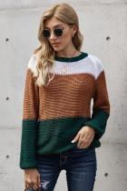 绿色时尚拼色宽松针织毛衣