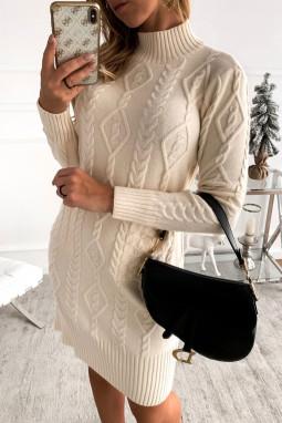 米白色高领长袖优雅纹理毛衣裙