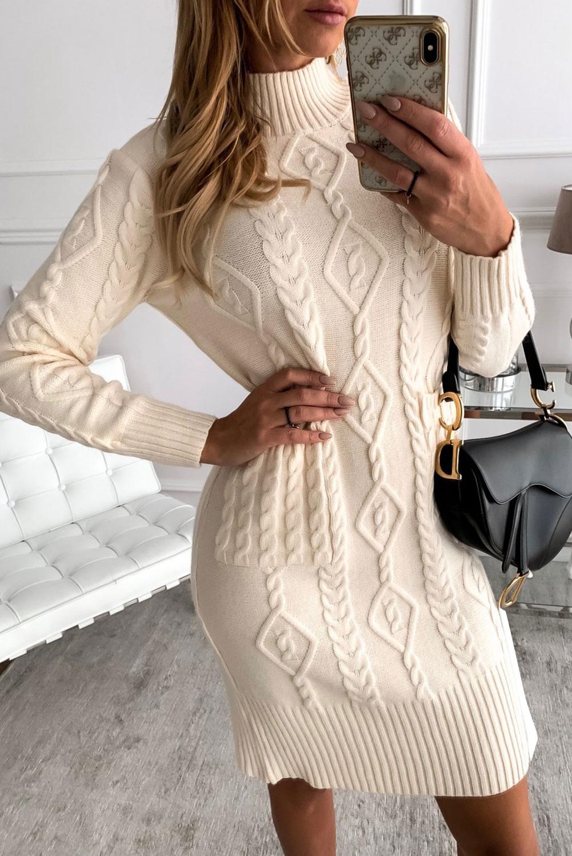 米白色高领长袖优雅纹理毛衣裙 LC273001