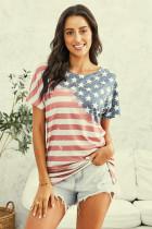 复古风美国国旗宽松圆领短袖上衣