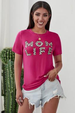 豹纹字母印花简约玫红色圆领短袖T恤