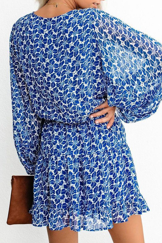 蓝色V领灯笼袖收腰可爱小碎花迷你裙 LC221224