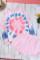 粉色扎染印花长袖上衣短裤家居便服套装