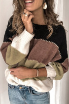 黑色套头拼色冬季保暖毛衣