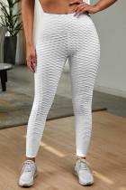 白色高腰紧身别致纹理舒适瑜伽运动裤
