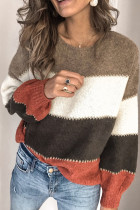 棕色套头拼色冬季保暖毛衣