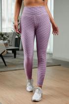 紫色高腰紧身别致纹理舒适瑜伽运动裤