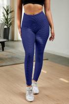 蓝色高腰紧身别致纹理舒适瑜伽运动裤