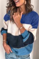 蓝色套头拼色冬季保暖毛衣
