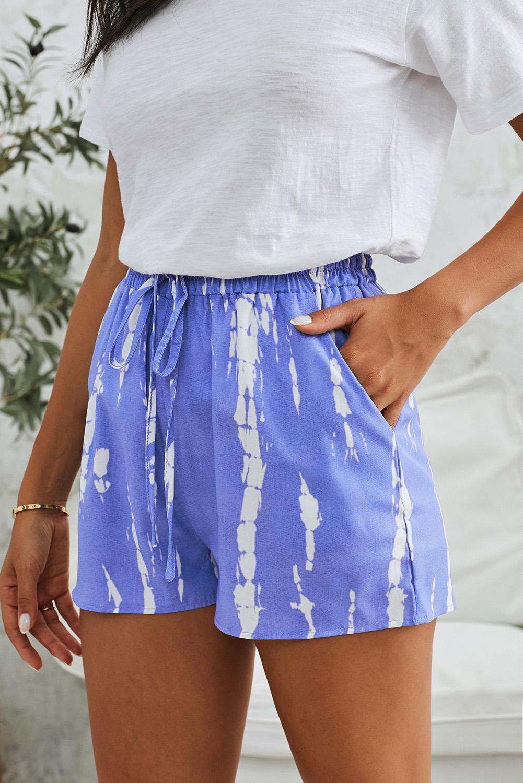 蓝色时尚扎染抽绳休闲短裤 LC77002