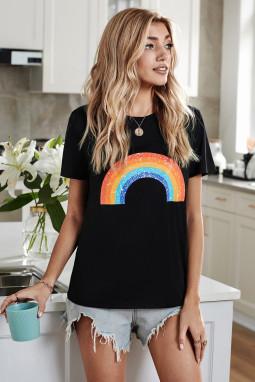黑色圆领短袖时尚彩虹图案舒适透气夏季T恤