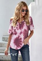 紫红色扎染冷肩短袖休闲时尚T恤上衣