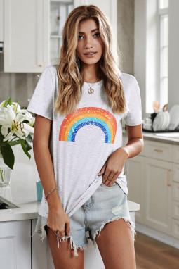 白色圆领短袖时尚彩虹图案舒适透气夏季T恤