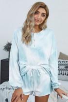 浅蓝色时尚扎染长袖纽扣领抽绳束带家居睡衣套装