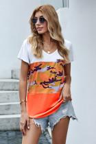 橙色时尚迷彩V领短袖舒适休闲女士T恤