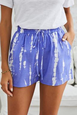 蓝色时尚扎染抽绳休闲短裤