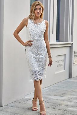 白色精美睫毛V领蕾丝调节细肩带中长连衣裙