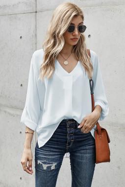 白色V领3/4袖高低下摆时尚宽松上衣