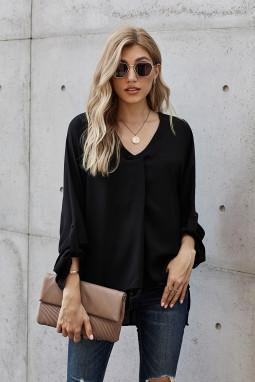 黑色V领3/4袖高低下摆时尚宽松上衣