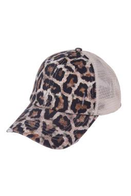 豹纹别致交叉镂空透气棒球帽