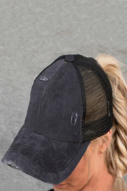黑色别致交叉镂空透气棒球帽