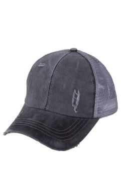 灰色别致交叉镂空透气棒球帽