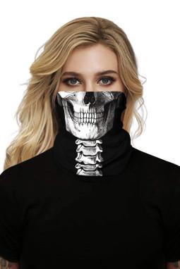 白骨骷髅印花可水洗男女通用头巾面罩围脖
