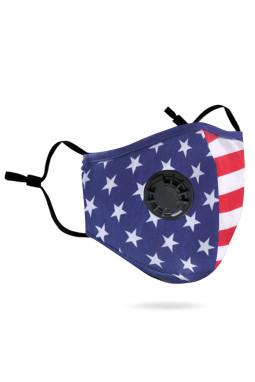 美国星条纹防污染可重复使用活性炭带呼吸阀棉口罩