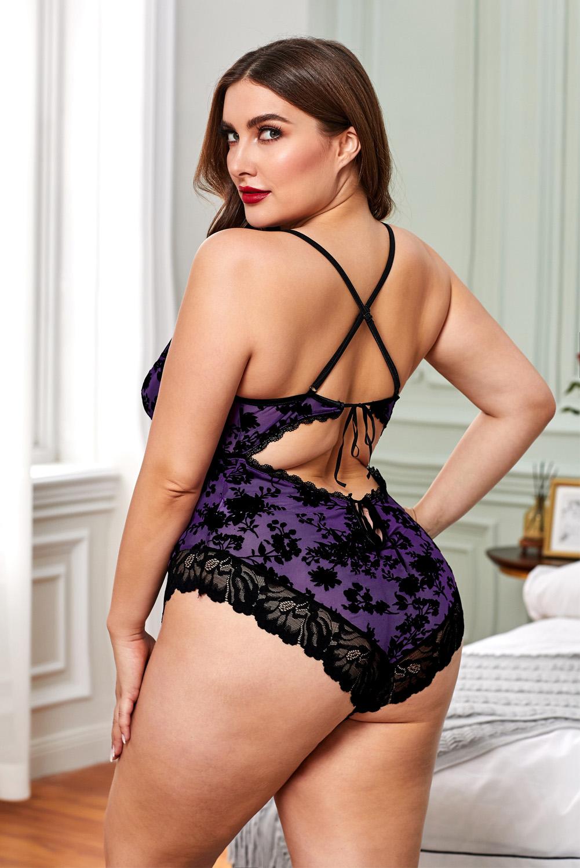加大码紫色浪漫花边蕾丝连体内衣 LC32536