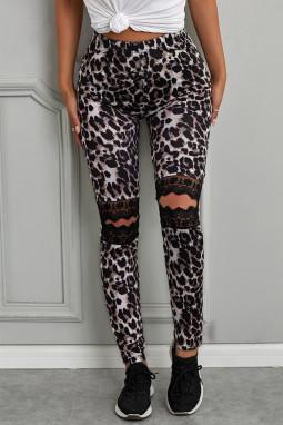 经典豹纹印花镂空花卉蕾丝细节修身打底裤