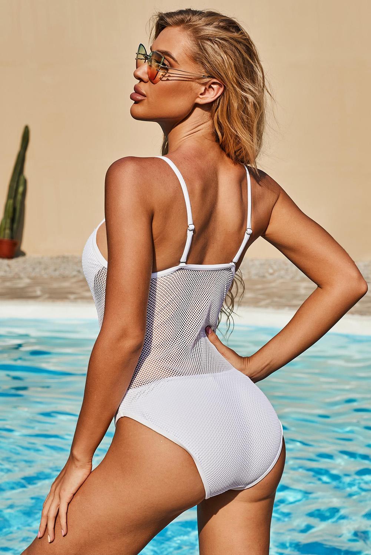 白色可调节细肩带镂空网眼简约时尚连体泳衣 LC412259