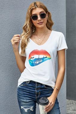 白色V领短袖性感嘴唇图案时尚休闲T恤衫