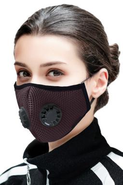 褐色日常防护双呼吸阀活性炭口罩