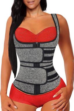 灰色氯丁橡胶塑腰拉链设计背心款塑身衣