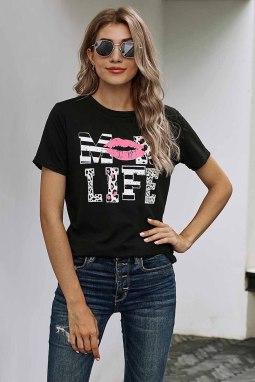 时尚字母唇印图案黑色圆领短袖宽松休闲T恤
