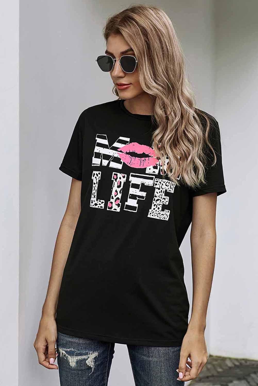 时尚字母唇印图案黑色圆领短袖宽松休闲T恤 LC253643