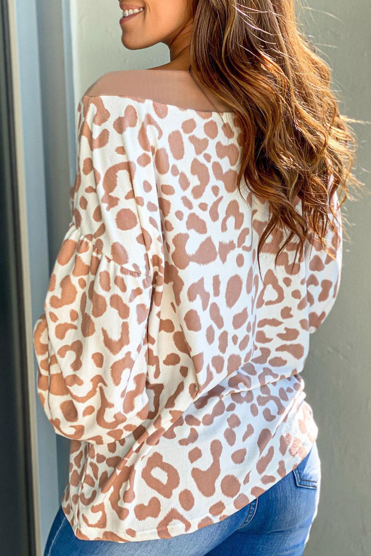 时尚豹纹印花V领长袖套头上衣 LC253387