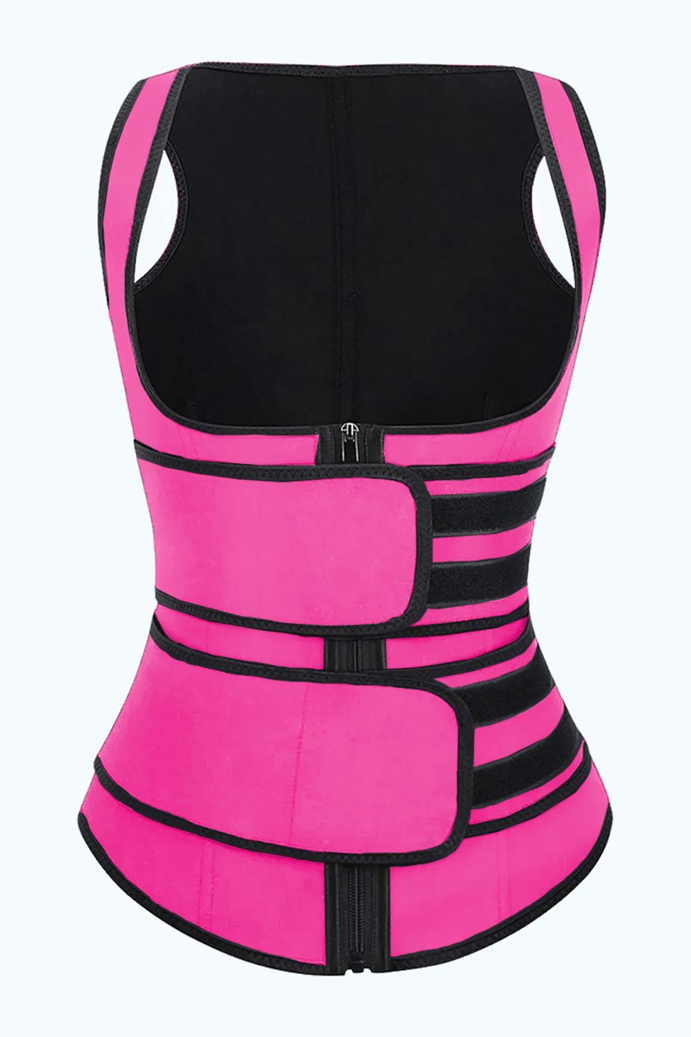 玫红色氯丁橡胶塑腰拉链设计背心款塑身衣 LC51074