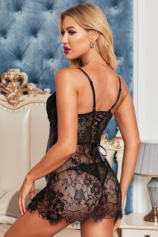 黑色浪漫玫瑰蕾丝交叉缎带后背娃娃装睡裙 LC31239