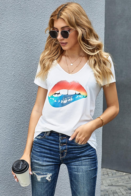 白色V领短袖性感嘴唇图案时尚休闲T恤衫 LC253619