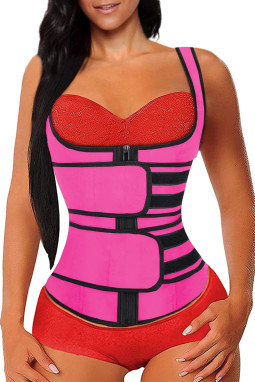 玫红色氯丁橡胶塑腰拉链设计背心款塑身衣
