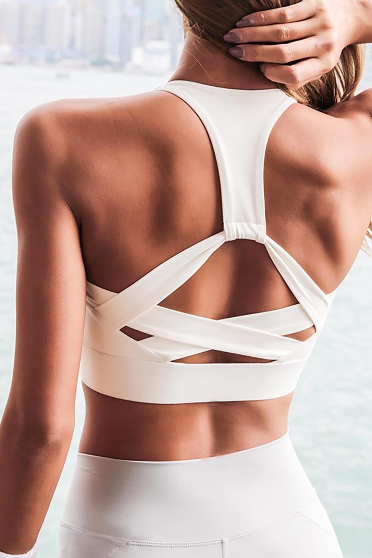 白色个性后背运动瑜伽背心文胸 LC262008